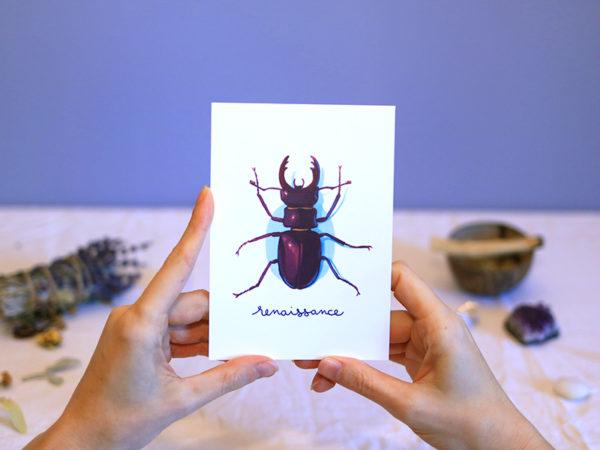Green Mama Art - Série de cartes Animal Totem Insecte Scarabée
