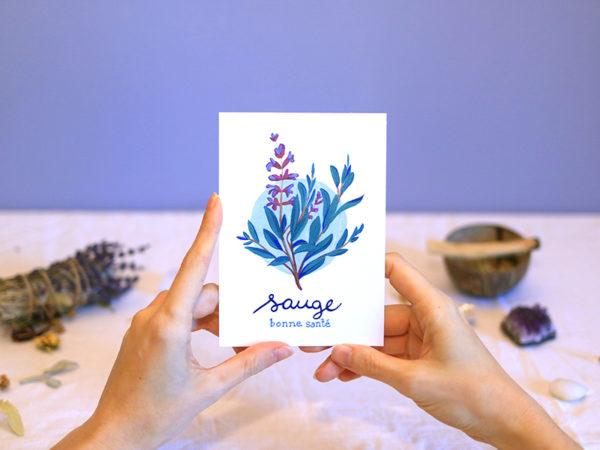 Green Mama Art - Série de cartes Plante Medicinale Sauge