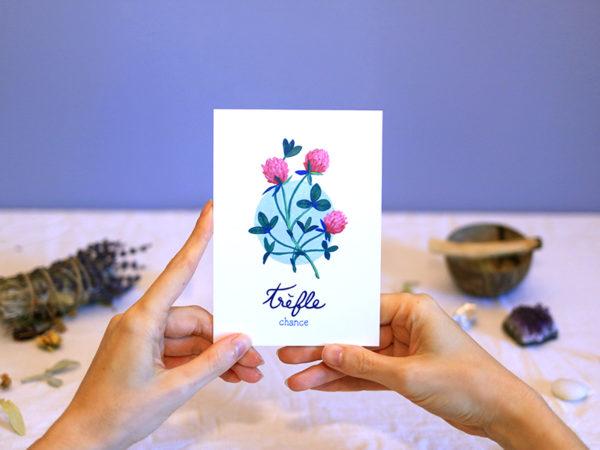Green Mama Art - Série de cartes Plante Medicinale Trèfle