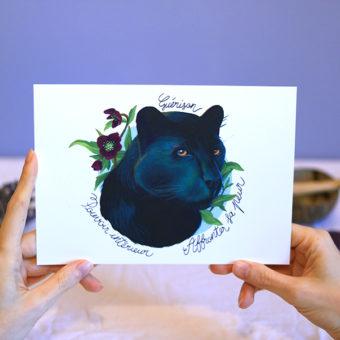Green Mama Art - Série de cartes Animal Totem Panthère