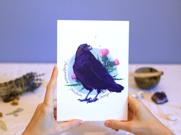 Green Mama Art - Série de cartes Animal Totem Corbeau