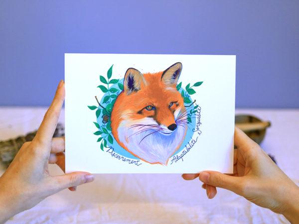 Green Mama Art - Série de cartes Animal Totem Renard