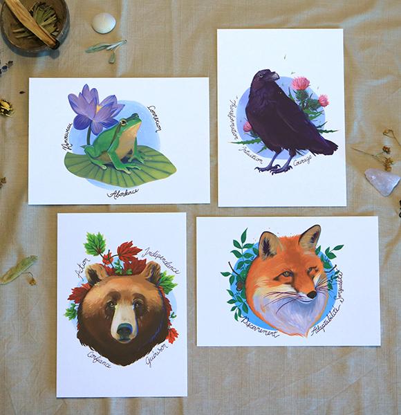 Green Mama Art - Série de cartes Animal Totem