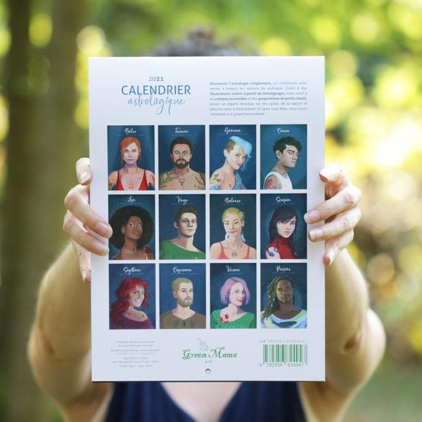 Calendrier astrologique 2021 illustré par Green Mama Art. 4eme de couverture.